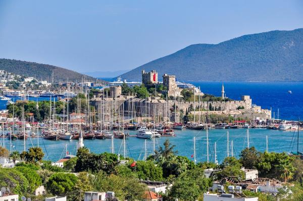 Saint Peter Castle Bodrum Kalesi and cityscape of Bodrum Turkey2